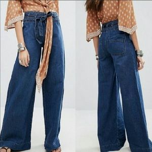 Free People Augusta Flare Wide Leg Jeans High Rise